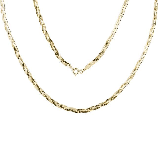 Ladies braided chain in gold, 45 cm long