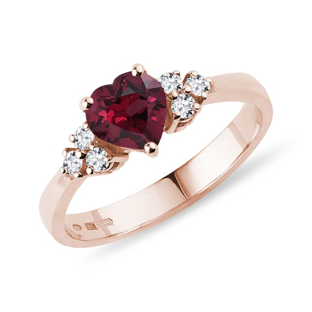 Rhodolite and diamond ring in rose gold