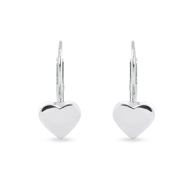 Heart-shaped earrings in white gold