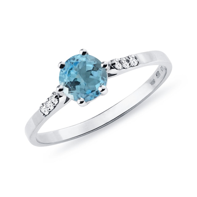 Topaz ring with diamonds in white gold