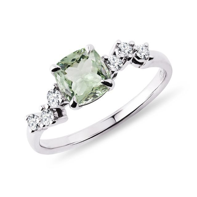 Green amethyst and diamond ring in white gold