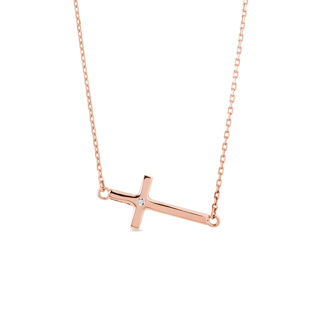 Diamond cross necklace in rose gold