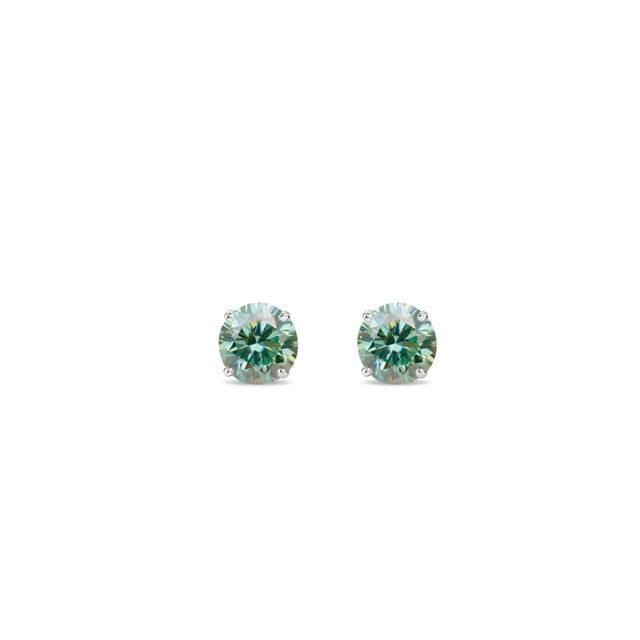 Green diamond earrings in white gold