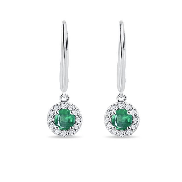 Earrings in white gold with emeralds and diamonds