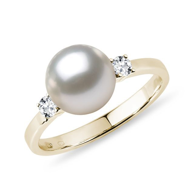 Akoya pearl and diamond 14kt gold ring