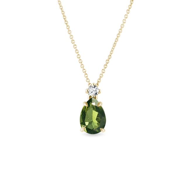 Diamond and moldavite necklace in yellow gold