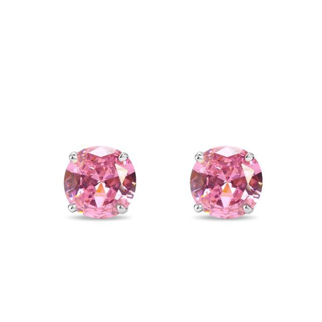 Pink sapphire stud earrings in white gold