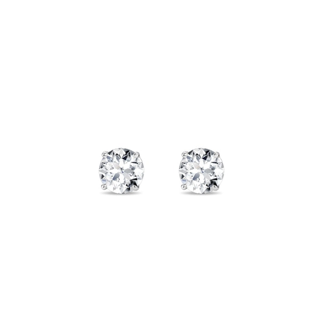 Stud earrings in white gold with 0.2ct diamonds
