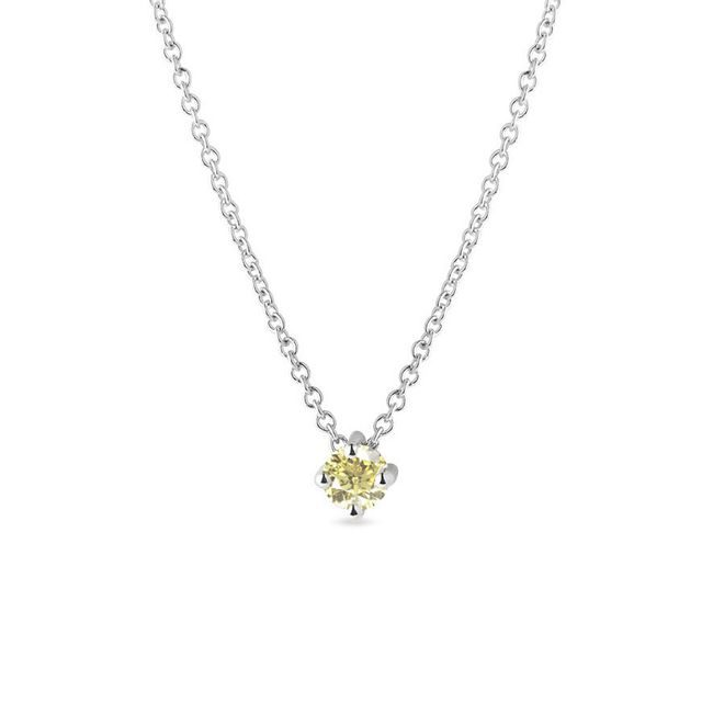 Yellow diamond necklace in white gold