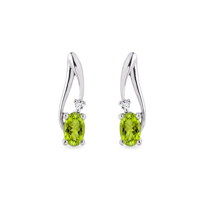 Peridot and diamond earrings in 14kt white gold