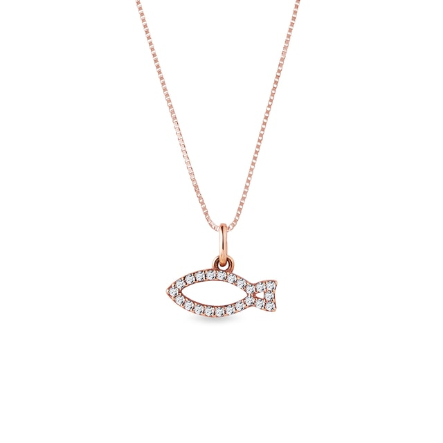 Diamond-studded fish charm in rose gold