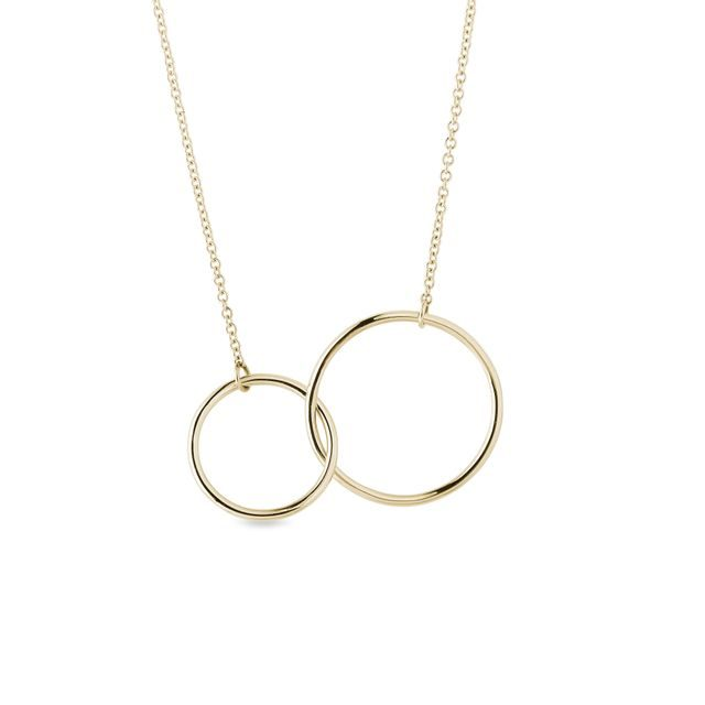 Double hoop necklace in yellow gold