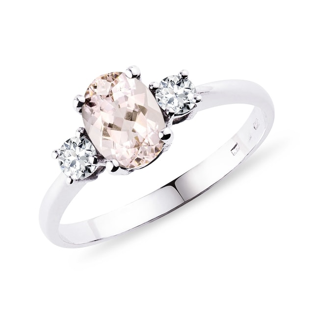 Bague diamants et morganite