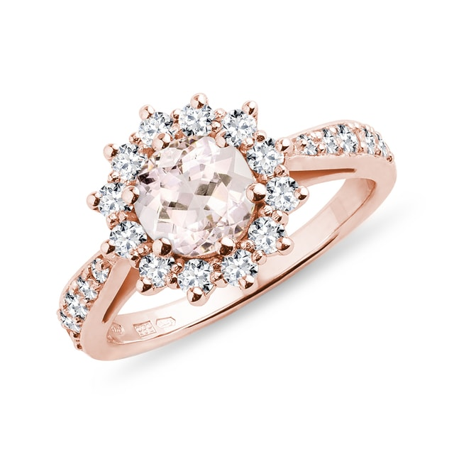 Morganit Ring mit Diamanten in Roségold