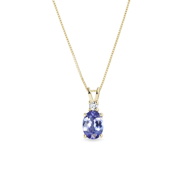 Tanzanite and diamond necklace in yellow gold