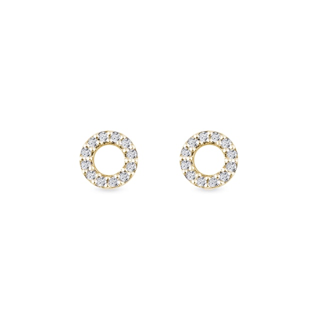 Halo diamond earrings in yellow gold