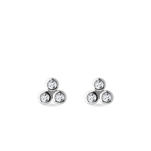 Bezel diamonds earrings in white gold