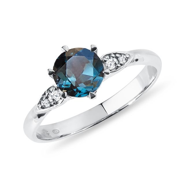 Topaz and diamond ring in white gold