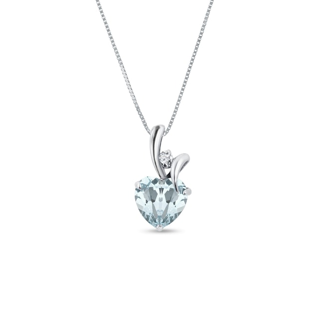 Aquamarine and diamond necklace in white gold