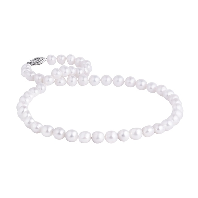 Freshwater pearl necklace in white gold