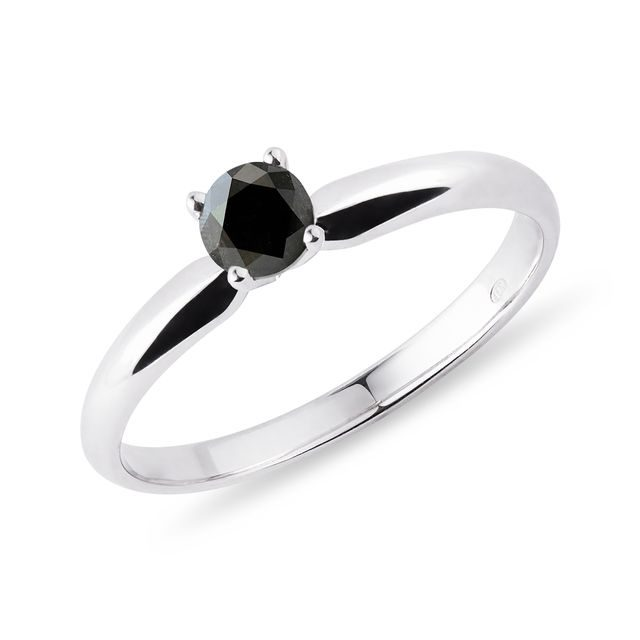 Black diamond ring in 14kt gold