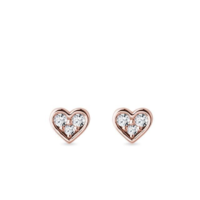 Heart earrings with diamonds in rose gold