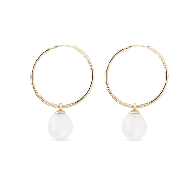 White moonstone earrings in yellow gold