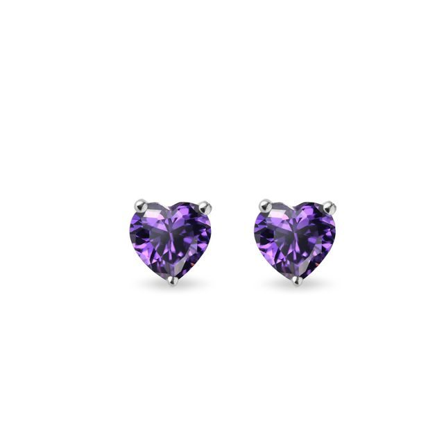 Heart-shaped amethyst earrings in white gold