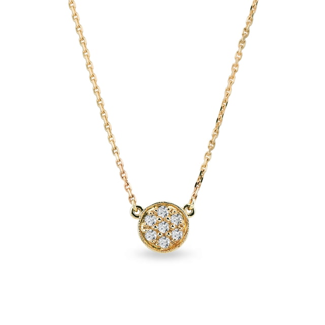 Diamond necklace in yellow gold