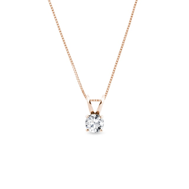 Classic diamond pendant in pink gold