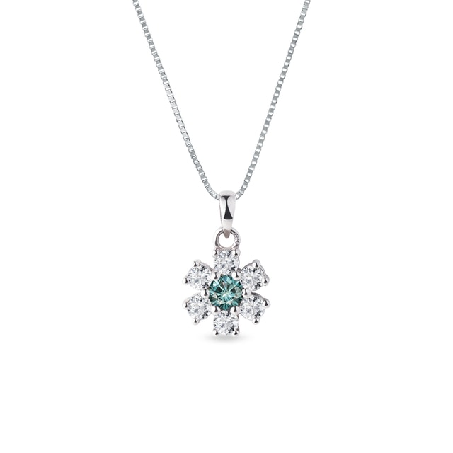 Blue and white diamond flower pendant in white gold