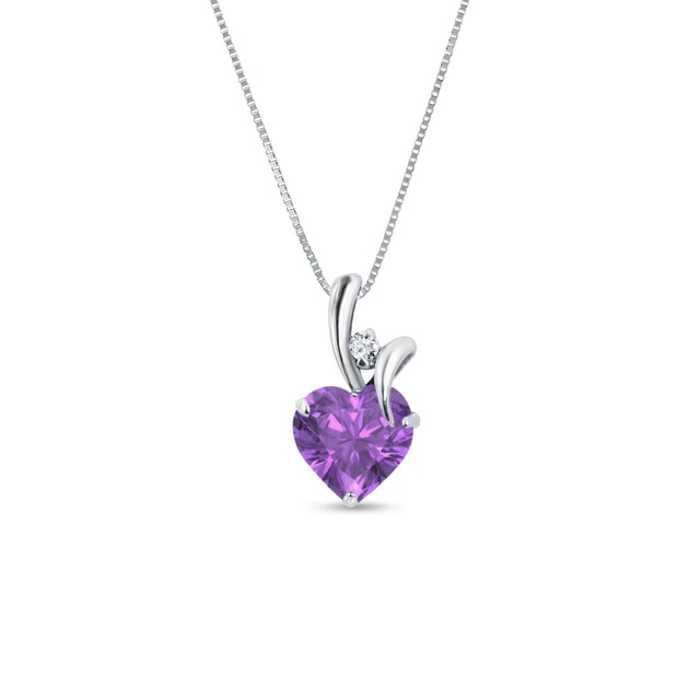 Amethyst and diamond heart pendant in 14kt gold