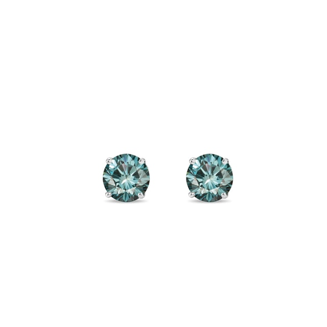Blue diamond earrings in 14kt white gold
