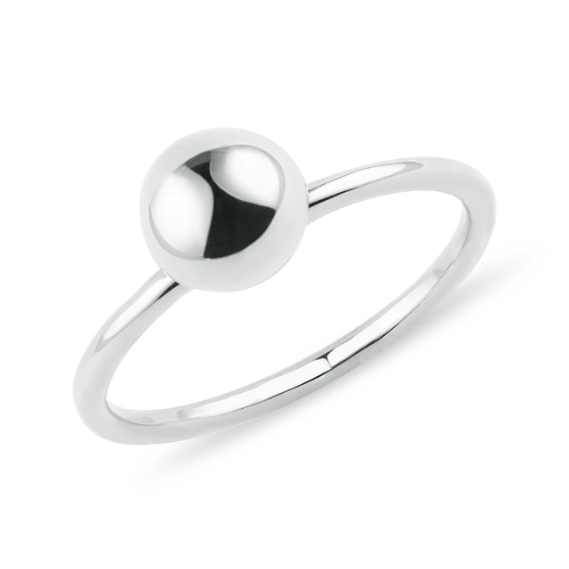 Golden orb ring in white gold