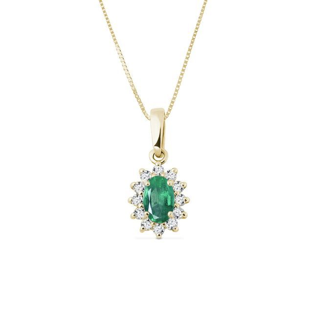 Emerald necklace in yellow gold with diamonds