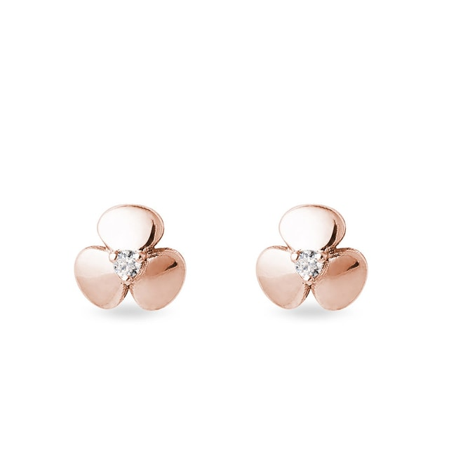 Shamrock diamond earrings in rose gold