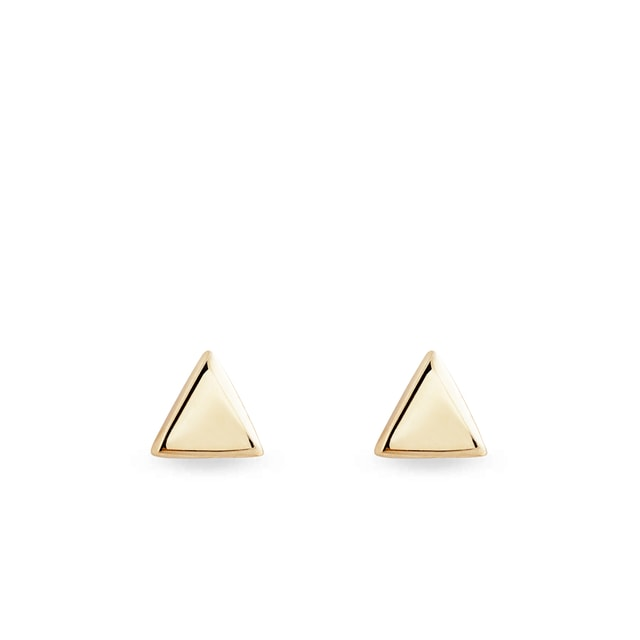 Gold triangle-shaped stud earrings