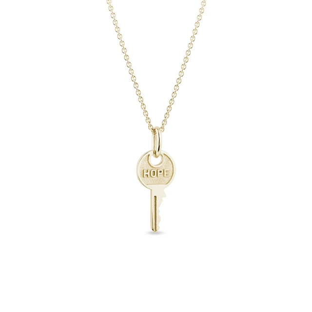 Hope key pendant in gold