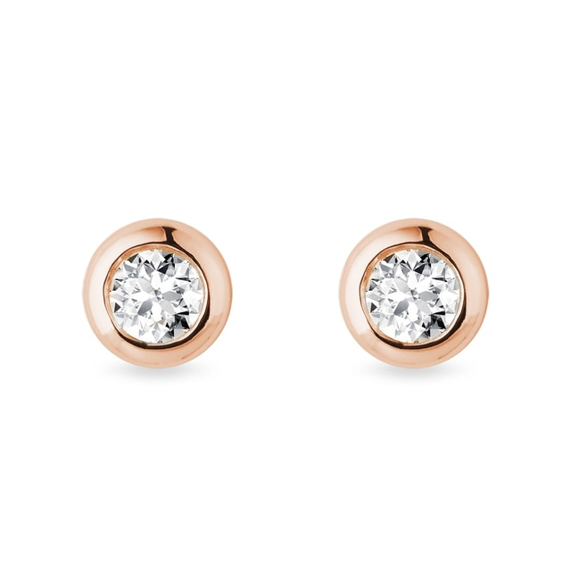 4.5 mm bezel diamond earrings in rose gold