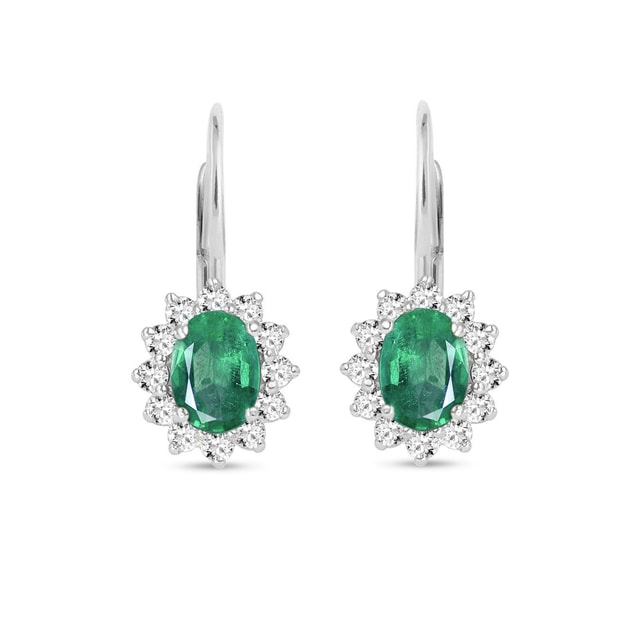 Emerald and diamond earrings in 18kt gold