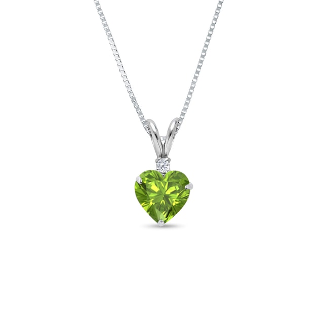 Peridot and diamond necklace in 14kt white gold