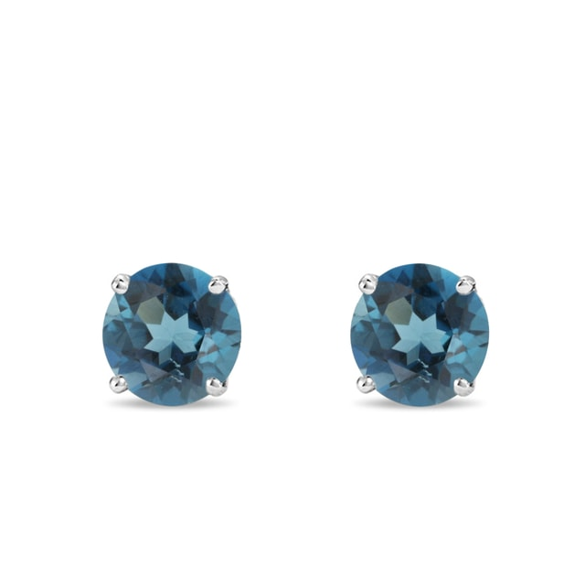 Earrings made of white gold with topaz London