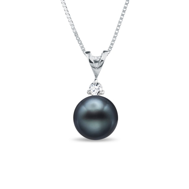 Tahitian pearl and diamond pendant in 14kt gold