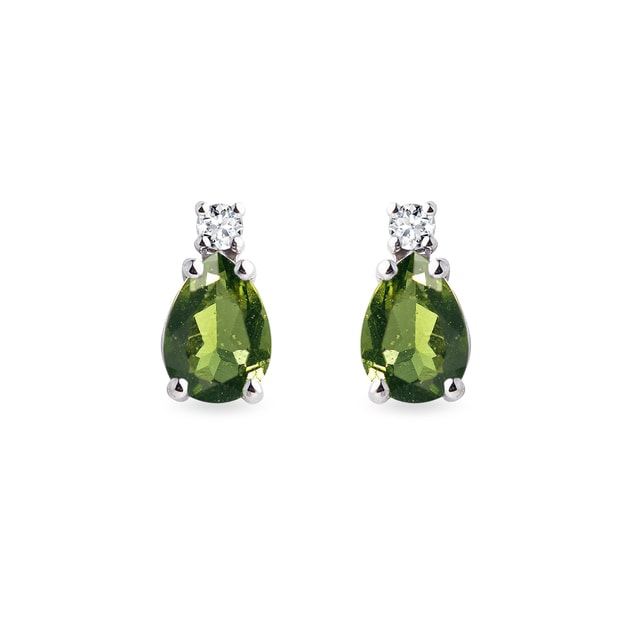 Diamond and moldavite earrings in white gold