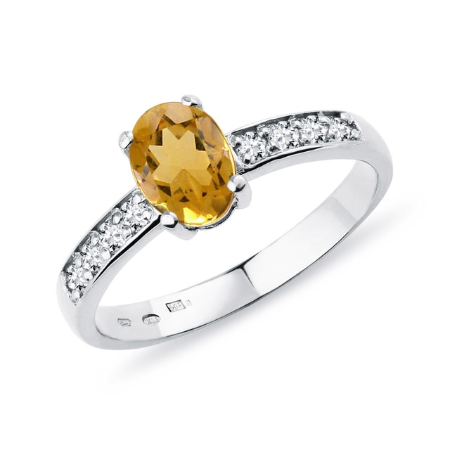 Citrin Ring mit Diamanten in Weißgold