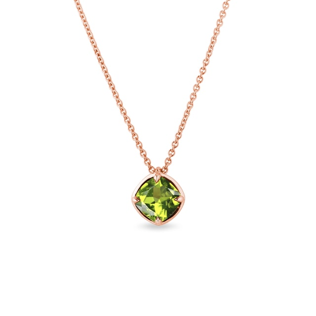 Olivine necklace in rose gold