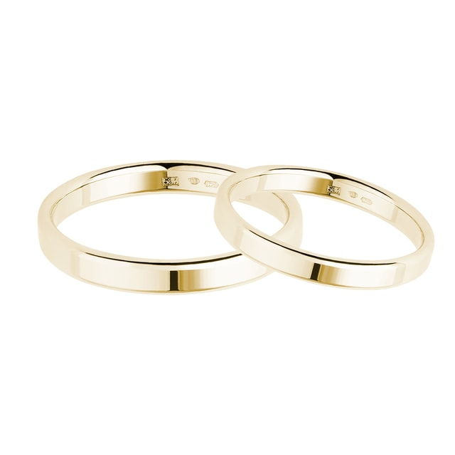 Classic gold wedding ring set