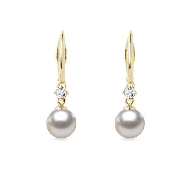 Akoya pearl and diamond earrings in gold