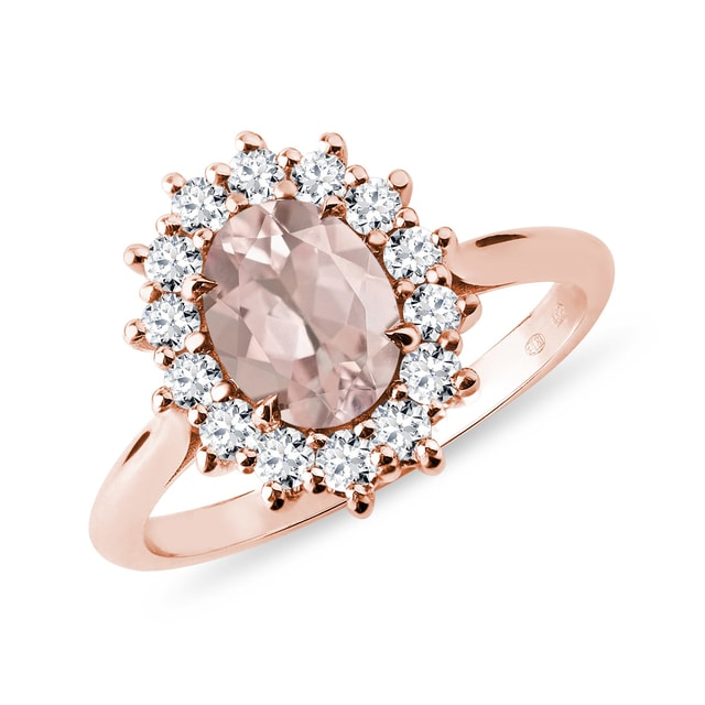 Bague en or rose morganite et diamants