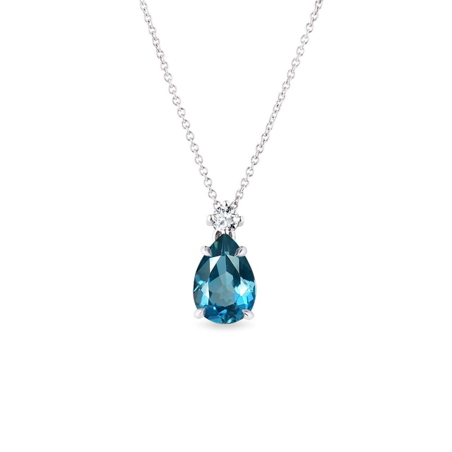 Topaz and diamond pendant in white gold